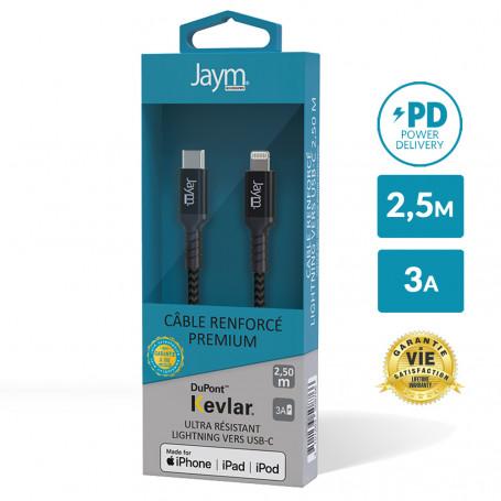CABLE ULTRA RENFORCÉ POWER DELIVERY USB-C VERS LIGHTNING 2,5M - GARANTIE A VIE - JAYM®