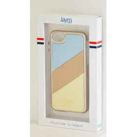 COQUE PREMIUM MADE IN FRANCE COMPATIBLE APPLE IPHONE 6 / 6S / 7 / 8 / SE 2020 JAYM - GOLD ECRU BLEU