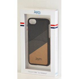 COQUE PREMIUM MADE IN FRANCE COMPATIBLE APPLE IPHONE X / XS JAYM - NOIR BEIGE MARRON