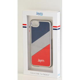COQUE PREMIUM MADE IN FRANCE COMPATIBLE APPLE IPHONE X / XS JAYM - SILVER BLEU ROUGE