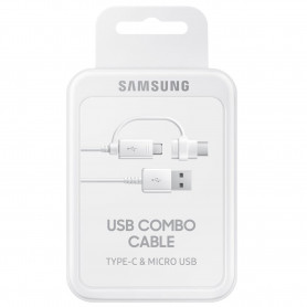 CABLE CHARGE ET SYNCHRO COMBO USB VERS MICRO-USB ET TYPE-C BLANC ORIGINE SAMSUNG