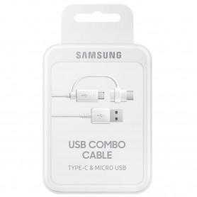 CABLE USB COMBO VERS MICRO-USB ET TYPE-C BLANC ORIGINE SAMSUNG