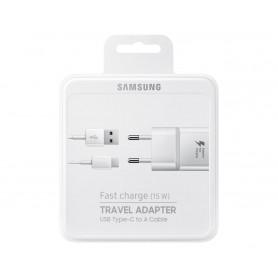 PACK CHARGEUR SECTEUR RAPIDE 15W + CABLE USB VERS USB-C BLANC ORIGINE SAMSUNG