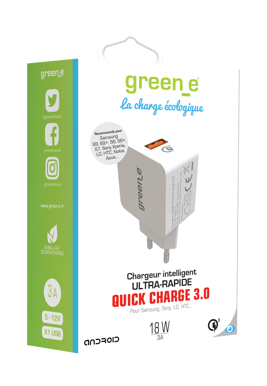 CHARGEUR SECTEUR 1 USB QUICK CHARGE 3.0 3A 18W BLANC GREEN-E