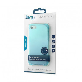 COQUE RENFORCEE TRANSPARENTE BLEUE JAYM COMPATIBLE APPLE IPHONE 7 / 8