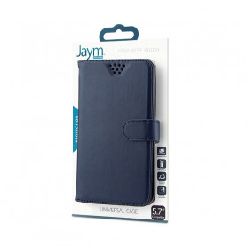 ETUI FOLIO UNIVERSEL STAND ET COULISSANT BLEU TAILLE M - JAYM®