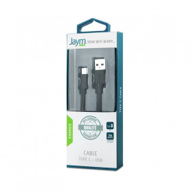 CABLE 1M USB CHARGE & SYNCHRO TYPE C NOIR JAYM