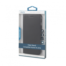 ETUI FOLIO STAND NOIR JAYM COMPATIBLE HUAWEI Y6 2018 / HONOR 7A **