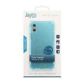 COQUE RENFORCEE TRANSPARENTE BLEUE JAYM COMPATIBLE APPLE IPHONE X / XS