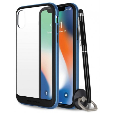 COQUE PREMIUM BUMPER ET VITRE COMPATIBLE APPLE IPHONE X / XS BLEUE