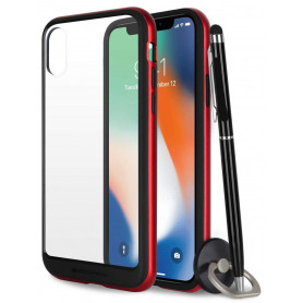 COQUE PREMIUM BUMPER ET VITRE COMPATIBLE APPLE IPHONE X / XS ROUGE