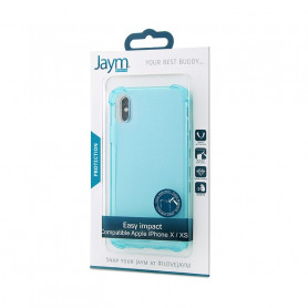 COQUE RENFORCEE TRANSPARENTE BLEUE JAYM COMPATIBLE APPLE IPHONE X / XS