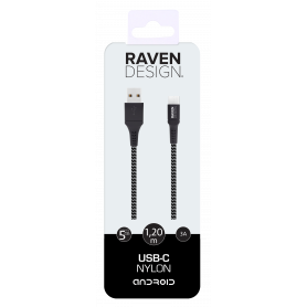 CABLE TRESSE 1.2M USB CHARGE & SYNCHRO VERS TYPE-C NOIR RAVEN