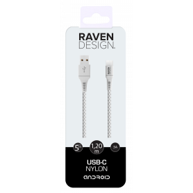 CABLE TRESSE 1.2M USB CHARGE & SYNCHRO VERS TYPE-C BLANC RAVEN